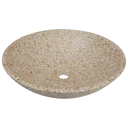 Stone Vessel Sink in Honed Basalt Tan Granite