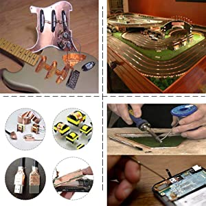 Zehhe Copper Foil Tape with Double-Sided Conductive (1/4inch X 21.8yards)- EMI Shielding,Stained Glass,Soldering,Electrical Repairs,Slug Repellent,Paper Circuits,Grounding (1/4inch) (Tamaño: 1/4inch)