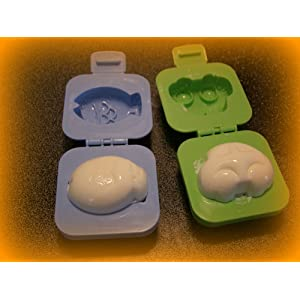 Kotobuki Plastic Egg Mold, Set of 2, Fish and Car