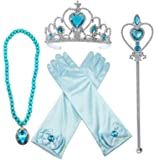 Alead Princess Elsa Dress Up Party Accessories et Gloves, Tiara, Wand and Necklace, Lake Blue, 4 Piece (Color: Lake Blue, Tamaño: one size)