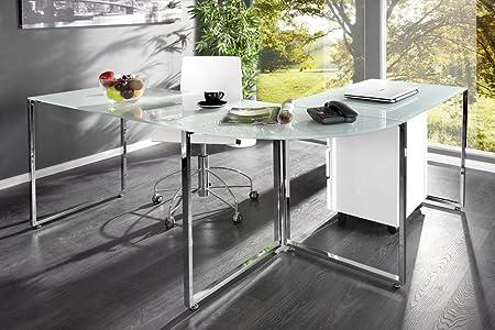 Exklusiver Design Eck-Schreibtisch STUDIO Glas weiss