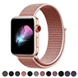 Yunsea For Apple Watch Band, New Nylon Sport Loop, with Hook and Loop Fastener, Adjustable Closure Wrist Strap, Replacement Band for iwatch, 38mm, Rose Pink (Color: Loop-rosepink, Tamaño: 38 mm)