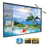 Projector screen 150 inch Portable Outdoor Projector Screen, 16:9 Folding HD Movie Screen for Home Theater Office Presentation. Easy install on mount/wall with Hanging Hole for front Projection