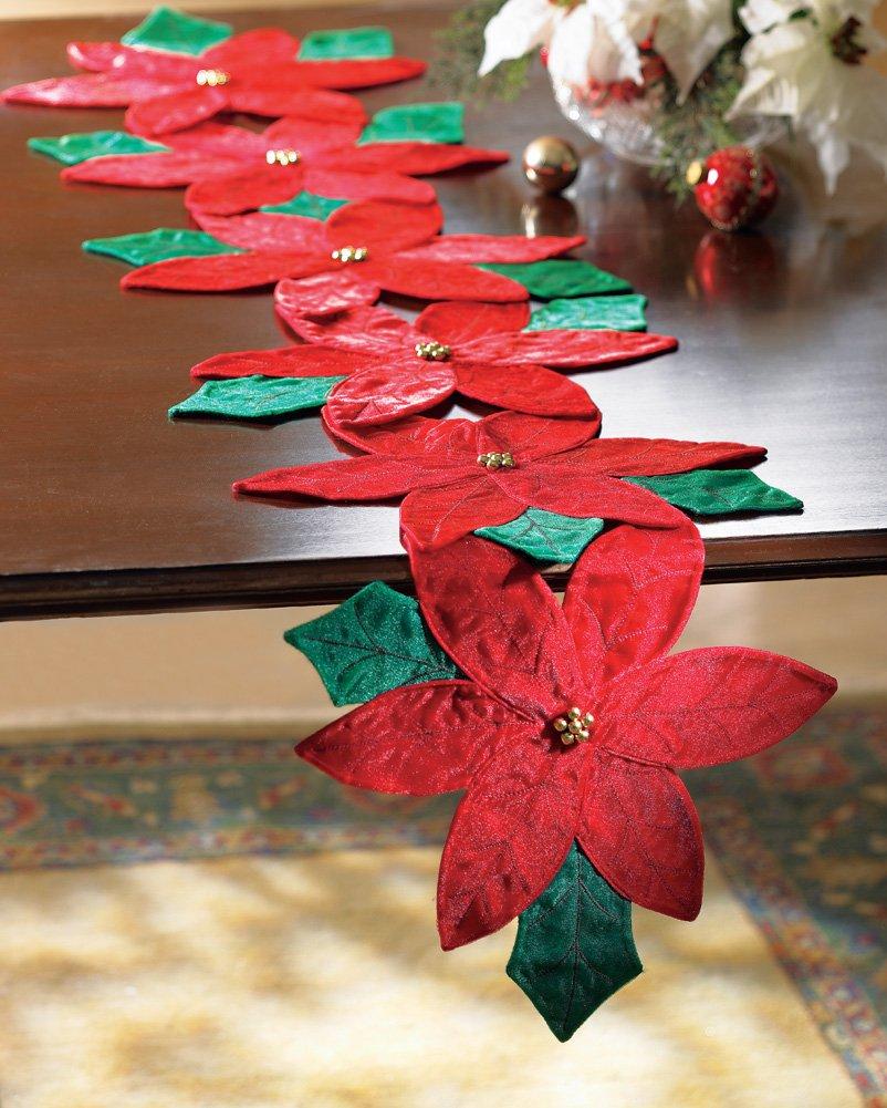 Christmas Poinsettia Floral Table Runner