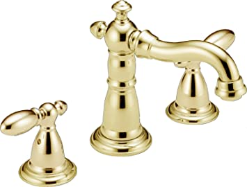 Delta Faucet 3555-PBMPU-DST Victorian Two Handle Widespread Lavatory Faucet, Polished Brass