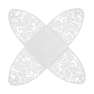 YOZATIA 50pcs Laser Cut Rose Candy Boxes, 2.6''x2.6''x2.8'' Gift Boxes for Anniverary Party Wedding Favor(White) (Color: White)