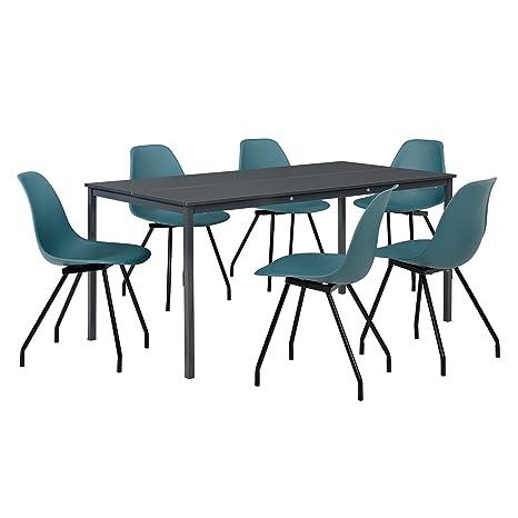 [en.casa]® - Table à manger ( gris foncé) avec des chaises élégantes (turquoise) - Table 160 cm x 80 cm