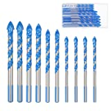 Masonry Drill Bit Set KAKOO 10 PCS Tungsten Carbide Tipped Ceramic Tile Drill Bits Assorted Size Twist Drill for Concrete Brick Glass Plastic and Wood (Color: Masonry Drill Bit)