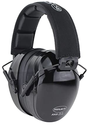 Titus Triple Black B4 Earmuffs - 26/32 NRR Noise Reduction Hearing Protection - Silence Any Environment (Premium, With Pouch) (Color: With Pouch, Tamaño: Premium)