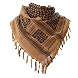 Military Shemagh Tactical Desert 100% Cotton Keffiyeh Scarf Wrap (Color: A-tan, Tamaño: One Size)