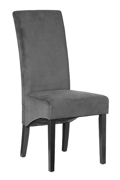 Premier Housewares Medan Velvet Dining Chair - Grey, Set of 2