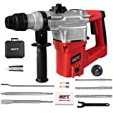 MPT 1 Inch SDS-plus 8.5 Amp Heavy Duty Rotary Hammer Drill,3 Function and Adjustabl Soft Grip Handle,Include 3 Drill Bits,Point and Flat Chisel with Case (Color: Red, Tamaño: 8 Amp)