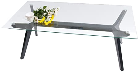 Furniture of America Cara Rectangular Glass Top Coffee Table