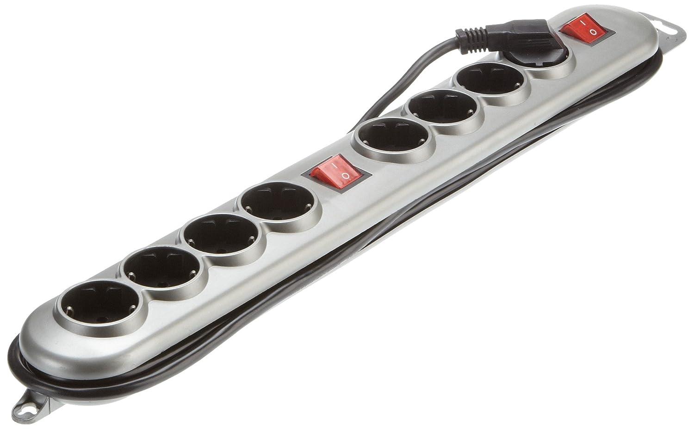 Regleta doble 2 secciones 4 enchufes con 2 interruptores for Regletas de enchufes