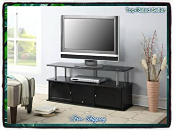 Black Tv Stand Media Entertainment Center 42 50 60 Inch Flat Screen Television Console Storage Furniture Cabinet Wood Home Modern 3 Cabinets Theater Shelf Shelves Television T.v. New Guarantee - It Comes Only Along with Our Free Ebook