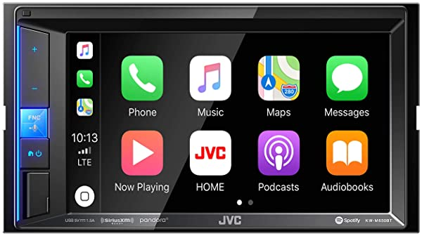 JVC KW-M650BT Digital Media Receiver with Bluetooth, 6.2 Touch Screen & Apple CarPlay Compatible (Color: Black, Tamaño: Radio Only)