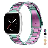 Wearlizer Stainless Steel Band Compatible Fitbit Versa Bands Women Men,Ultra-Thin Lightweight Replacement Band Strap Bracelet Compatible Fitbit Versa Smartwatch Accessories Rose Gold/Silver/Black (Color: Rainbow)