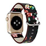 Urberry 38mm Woven Nylon Fabric Replacement Band for Apple Watch Series 2, Series 1, Sport, Edition (Flower-1) (Color: Flower-1, Tamaño: Large)