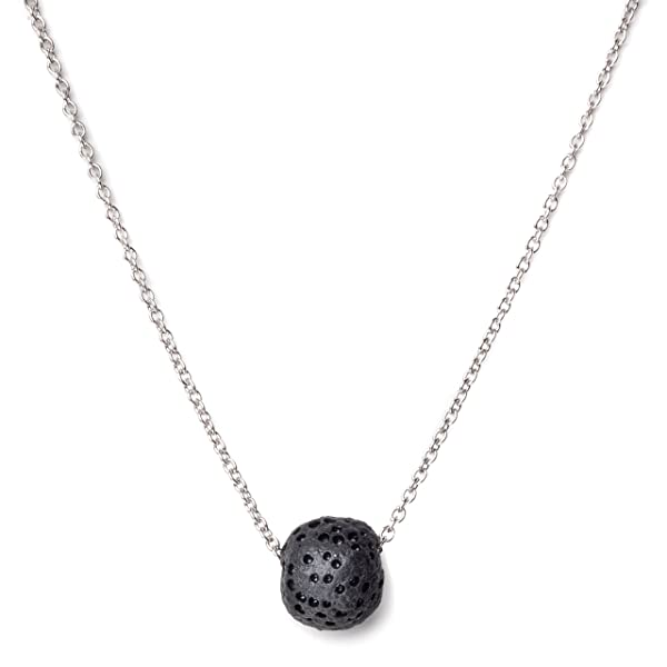 Calm Lava Stone Diffuser Necklace, 18 Italian Silver Box Chain All-Natural Organic Lava Rock Pendant for Essential Oils, Meditation, Yoga
