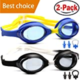 HOOLRO Swim Goggles, Kids Swim Goggles, (Pack of 2), Swimming Goggles for Kids Child Early Teens from 3 to 15 Years Old, Anti Fog UV Protection Lenses By