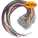 Selizo 100Pcs Necklace Cord String with Clasp Bulk for Jewelry Making and Bracelet, Multicolor (Color: Open End Waxed Cotton Necklace Cord Multicolors)