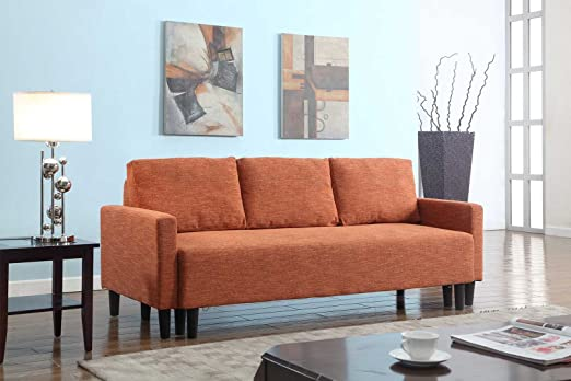 Large Rust Orange Cloth Modern Contemporary Upholstered Quality Sleeper Sofa Futon