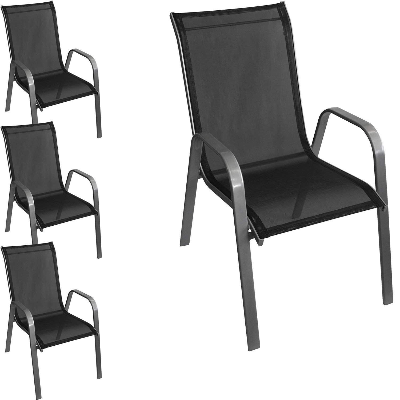 4 Stück Stapelstuhl Gartenstuhl Stapelsessel Gartensessel stapelbar Stahlgestell pulverbeschichtet mit Textilenbespannung Gartenmöbel Balkonmöbel Terrassenmöbel Silber / Schwarz