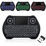 Wireless Keyboard with Touchpad Mouse, Mini Remote Keyboard with LED Backlit Rechargable and Portable 2.4 GHz for Android TV BOX, HTPC, XBOX (Color: Black)