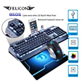 FELICON Gaming Keyboard Mouse Combo Sets S 101 104 Keys Wired White LED Backlit Metal Panel Waterproof Multimedia Ergonomic USB Keyboard 2400DPI Gamer Mouse Sets + Mouse Pad for PC Laptop Computer (Color: Black Grey / White Light)