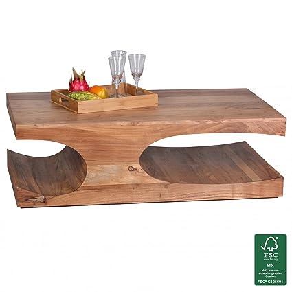 WOHNLING Couchtisch Massiv-Holz Akazie 118 cm breit Wohnzimmer-Tisch Design dunkel-braun Landhaus-Stil Beistelltisch Natur-Produkt Wohnzimmermöbel Unikat modern Massivholzmöbel Echtholz rechteckig
