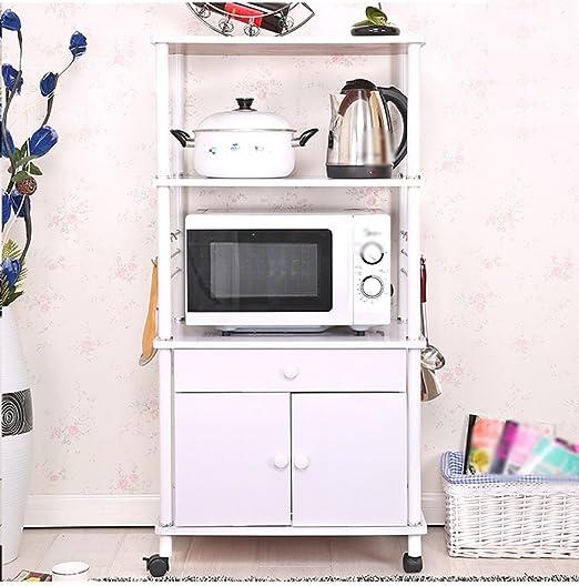 Cocina creativa Horno de microondas Estante Multi-estante Cocina multifunción Estante de almacenamiento Rack de almacenamiento Aterrizaje ( Color : Blanco )
