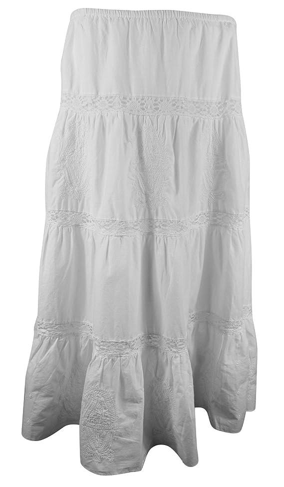 Lauren Jeans Co Ralph Lauren Women's White Tiered Maxi Skirt