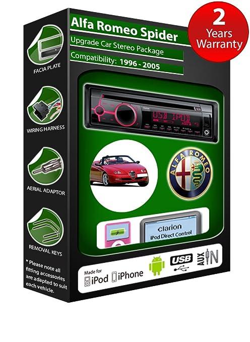 Alfa Romeo Spider de lecteur CD et stéréo de voiture radio Clarion jeu USB pour iPod, iPhone, Android