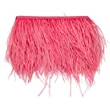 wanjin Ostrich Feathers Trims Fringe with Satin Ribbon Tape for Dress Sewing Crafts Costumes Decoration Pack of 2 Yards (Pink) (Color: 35#-Pink)