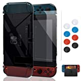 Case for Nintendo Switch,Fit The Dock Station, Protective Accessories Cover Case for Nintendo Switch and Joy-Con Controller - Dockable with a Tempered Glass Screen Protector,Crystal Clear Black (Color: Black)