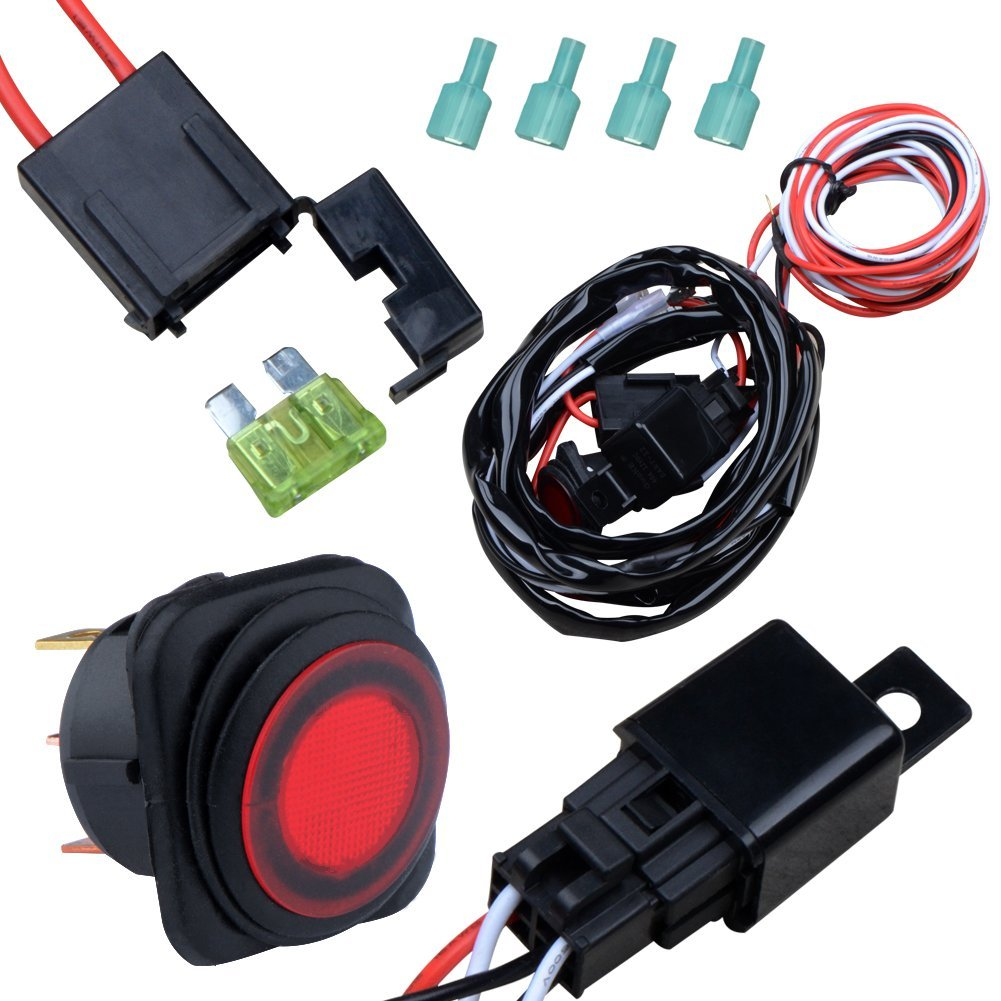 Nilight Off Road ATV/Jeep LED Light Bar Wiring Harness Kit 40 Amp Relay On/off Switch