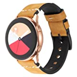 LBYZCAS Compatible for Galaxy Watch 42mm/Active Band,Gear S2 Smart Watch Bands,Breathable Genuine Leather 20mm Sport Watch Wristband Adjustable Strap
