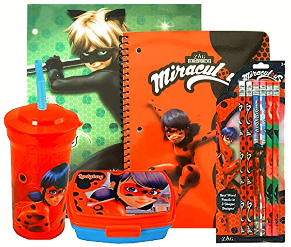 Miraculous Ladybug On The Go School Set- Drinking Cup with Straw, Food Container, Folder, Notebook (Green) (Color: Green)