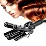 Professional 25mm Hair Waver 3 Barrels Jumbo Ceramic Hair Curler Rollers Crimper Beach Curl Curling Iron Hair Styling Tools with LCD Temperature Display Salon Home Use Black BLUETOP (Color: Classic Black)