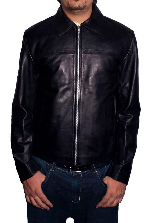 Men's Layer Cake Sheep Black Leather Jacket
