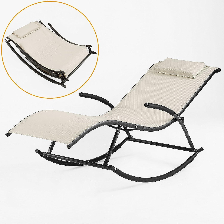 Sobuy relaxliege sonnenliege relaxsessel liegestuhl for Schaukelstuhl alu