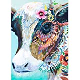 DIY 5D Diamond Painting by Number Kits, Crystal Rhinestone Diamond Embroidery Paintings Pictures Arts Craft for Home Wall Decor, Full Drill, Colorful Cow (Color: Colorful Cow, Tamaño: 11.8*15.7inch)