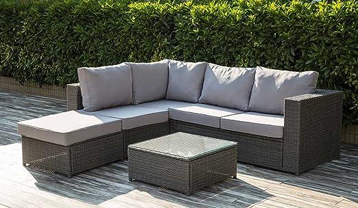 Dark Grey Rattan Modular Furniture Garden Set