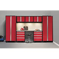 NewAge Products 50277 Bold 3.0 8-Piece Cabinetry Set with Stainless Steel Work Top (Red)