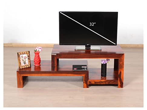 Ripiano in legno Dekor Open mobile TV, Sheesham Natural, 132x45x45 Cms