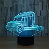 Circle Circle Truck 3D Optical Illusion Lamp 7 Colors Change and 15 Keys Remote Control LED Night Light Perfect Gifts Toys for Children Kids