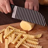 LALI Garnishing Knife Waves French Fry Cutter Crinkle Potato Slicer Titanium Stainless Steel (Color: Black, Tamaño: Corrugated blade-Medium size (black)))