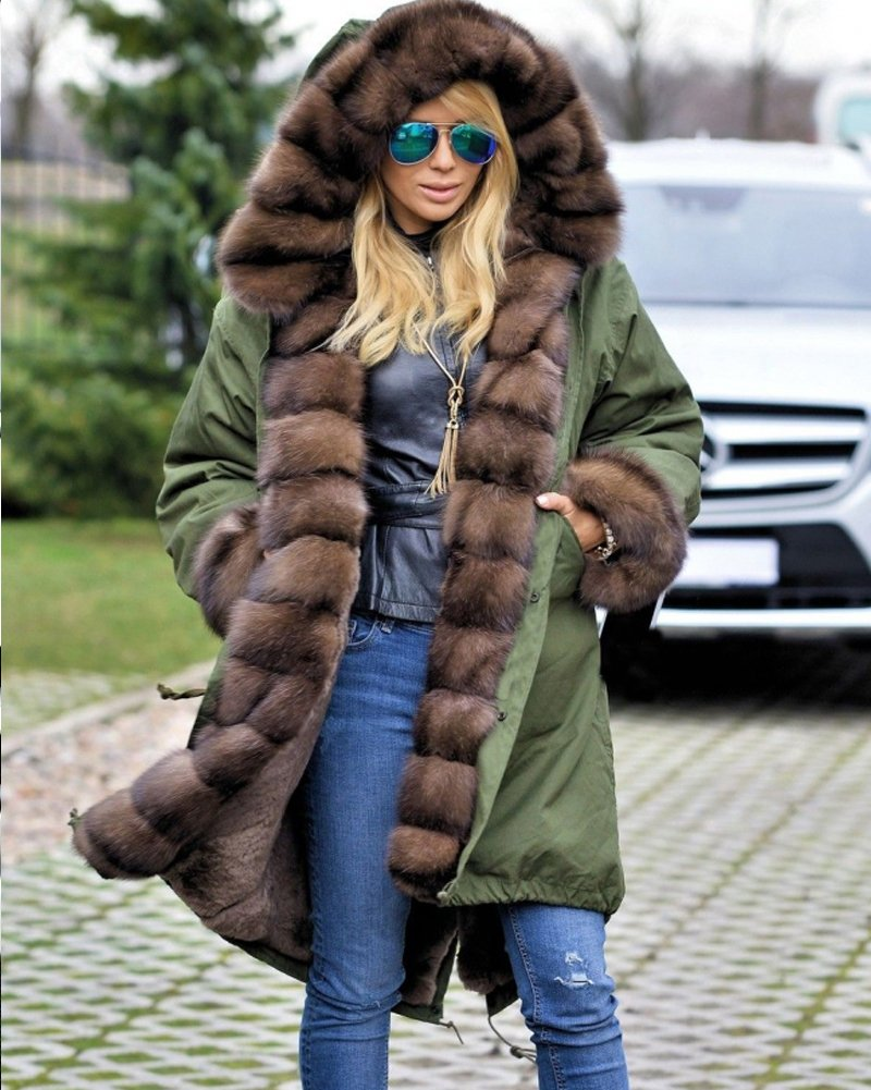 Roiii Ladies Quilted Casual Vintage Faux Fur Collar Warm Thick Womens Jacket Coat 1