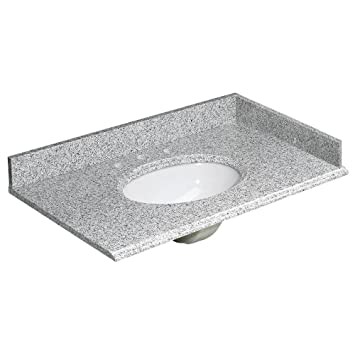 Foremost HG37228RG Heritage 37-Inch Granite Vanity Top, Rushmore Grey