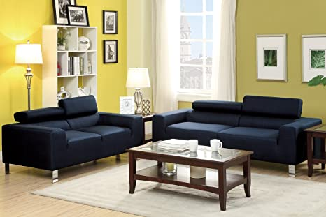 Sofa and Loveseat Set (Blue Polyfiber)